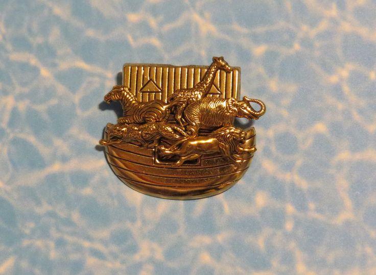 Noah's Ark Pin Brooch 24 Karat Gold Plate Noah Flood Christian 2 by 2 Bible Animals PG366R by NostalgicCharm on Etsy