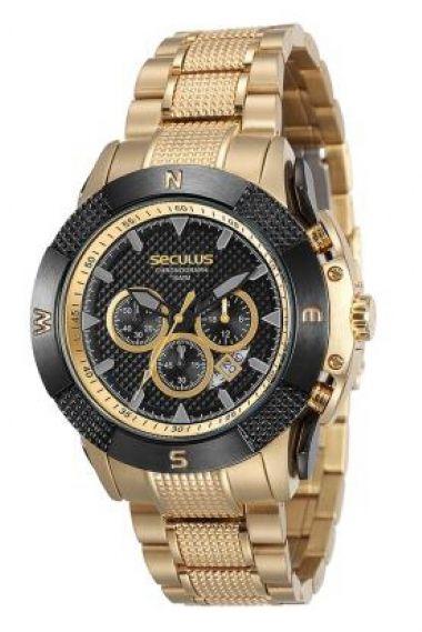 20365GPSVDA2 Relógio Masculino Dourado Seculus Prime   Guest Club