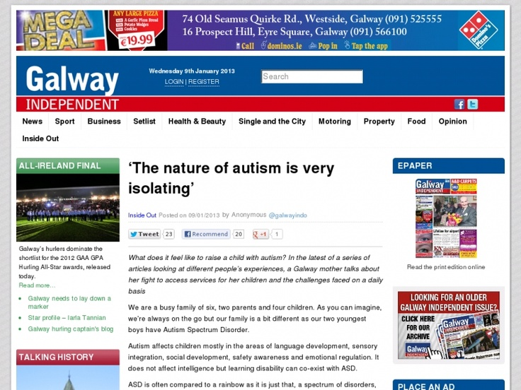 What does it feel like to raise a child with autism? In the latest of a series of articles looking at different people's experiences, a Galway mother talks about her fight to access services for her children and the challenges faced on a daily basis.