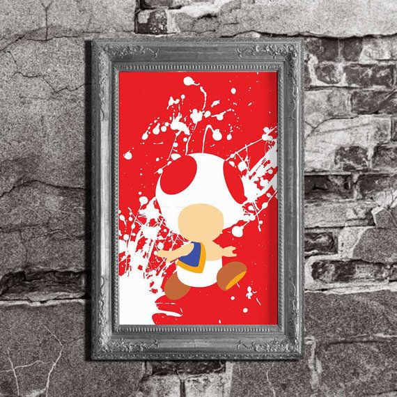 Toad Splatter  Mario Brothers Inspired  Video Game by FADEGrafix