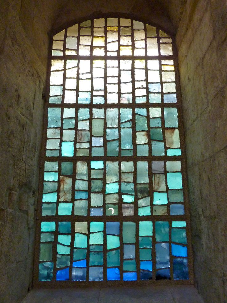 stained glass window in Arles cathedral