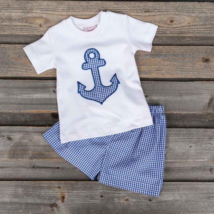 Applique Anchor Boys Short Set Blue Gingham