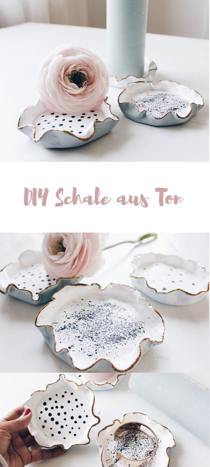 Wunderschöne Schale aus Ton selber machen. DIY DEKO Schmuckschale Ringschale. Schmuckaufbewahrung basteln.