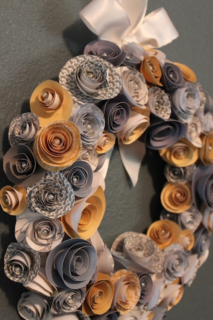 paper flower wreath - pearls in the middle... could do Christmas colors or music?