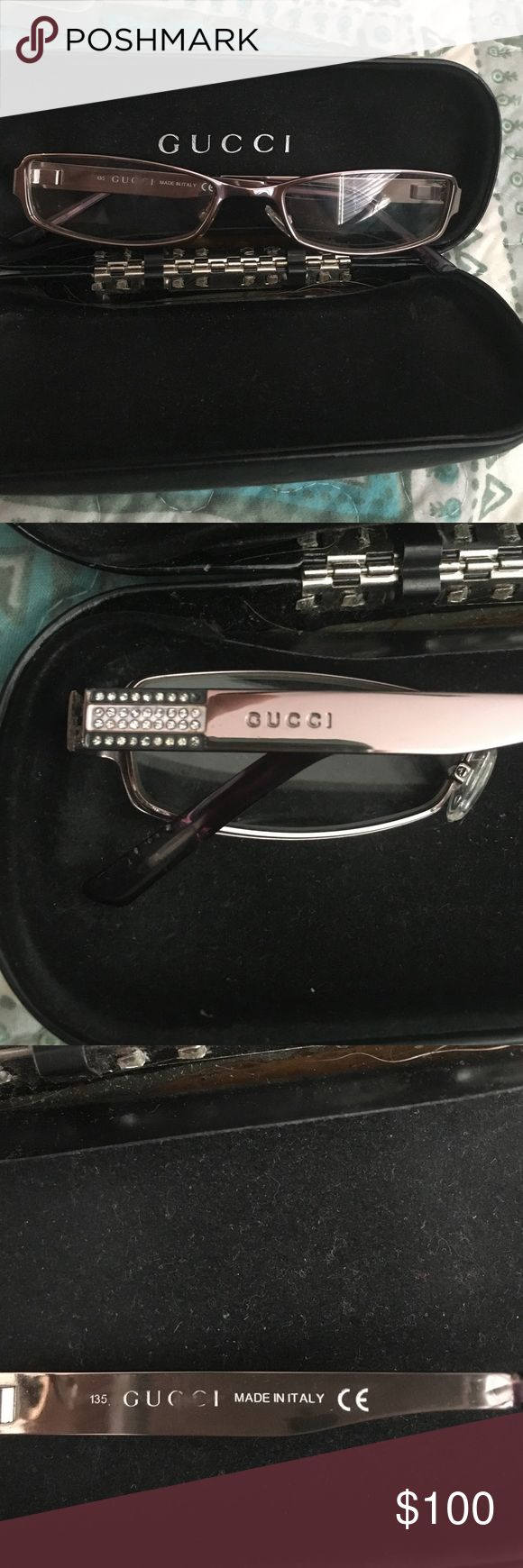 Gucci eyeglasses Gucci eyeglass frames in lavender in great condition just one small stone missing you can see it in the second picture Gucci Accessories Sunglasses