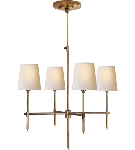 Visual Comfort Thomas OBrien Bryant 4 Light Chandelier in Hand-Rubbed Antique Brass TOB5002HAB-NP #lighting