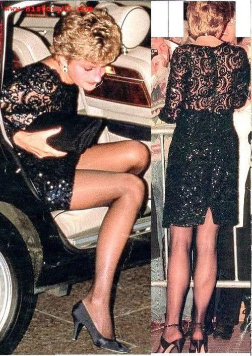 Diana in beautiful black lace dress!