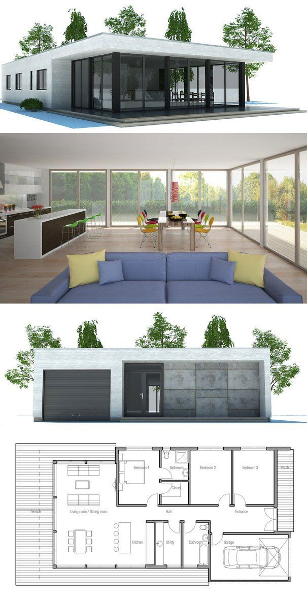 Contemporary Home Plan to narrow lot. Open planning, abundance of natural light, three bedrooms, garage.