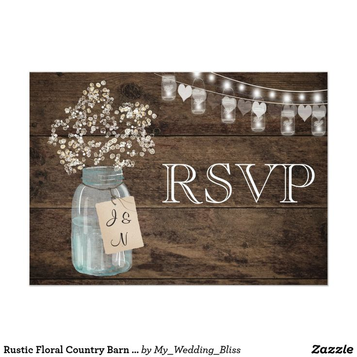 sample wording for rsvp wedding invitations%0A Rustic Floral Country Barn Wedding RSVP Card Beautiful custom wedding  design featuring a country flower and mason jar  Perfect for that rustic or  barn