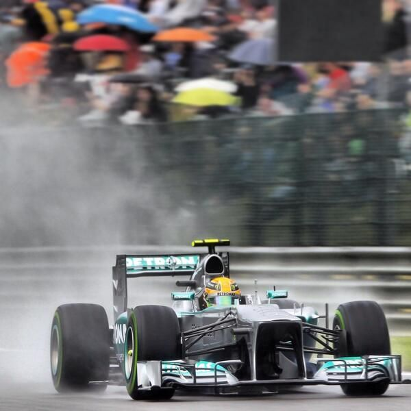 Lewis Hamilton, in the rain, for pole at Spa. 2013.