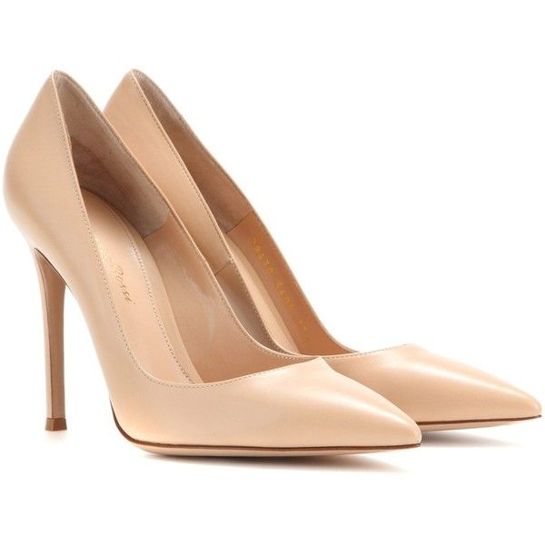 Gianvito Rossi Leather Pumps (£325) ❤ liked on Polyvore featuring shoes, pumps, heels, sapatos, high heels, neutrals, nude shoes, heels & pumps, leather shoes and high heel pumps