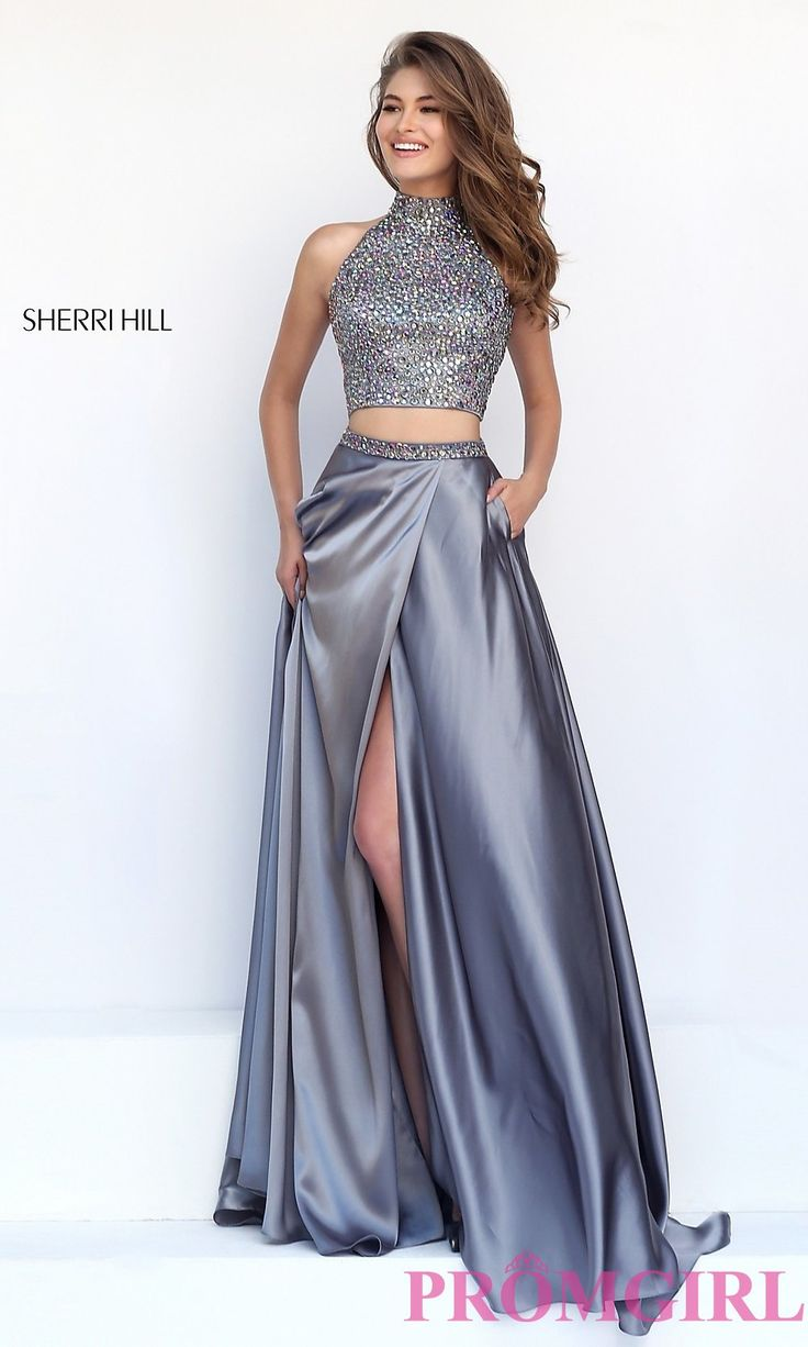 Prom Dresses, Celebrity Dresses, Sexy Evening Gowns: Long High Neck Two Piece Sherri Hill Prom Dress