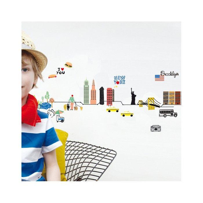 """Frise murale """"New York City"""" pour les contremarches de l'étage des enfants"""