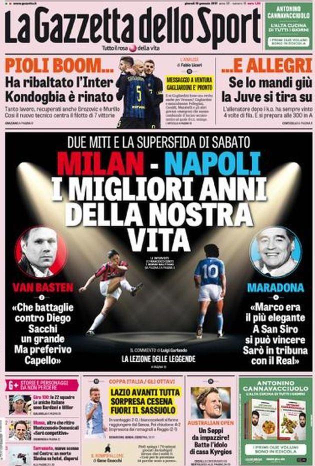 Gazzetta dello Sport prima pagina 19 gennaio 2017