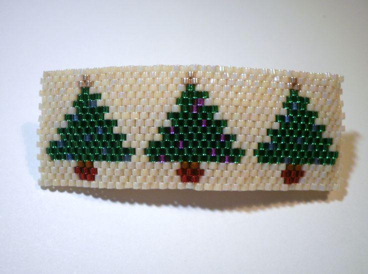 Christmas Tree Barrette Peyote Stitched Beaded Decoration Hair Jewelry by JazminsJewels on Etsy