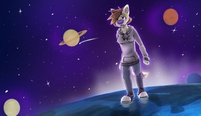 "A Galaxy of Awe: Original media from Media League team ""Made in Canada"", Howard S. Billings Regional High School, Châteauguay, QC, CA. furry, space, digital drawing, art,  atmosphere, imagination."