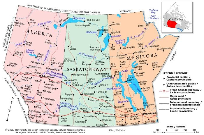 Prairie Provinces - A political map of the Prairie Provinces showing boundaries, the provincial capitals, selected populated places with names, selected drainage with names and selected roads.