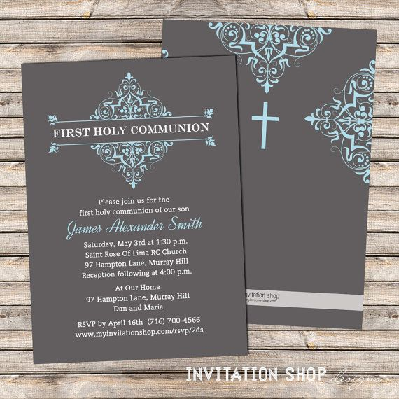 Elegant+Damask+Frame+Communion+Invitations++by+InvitationShop,+$1.20