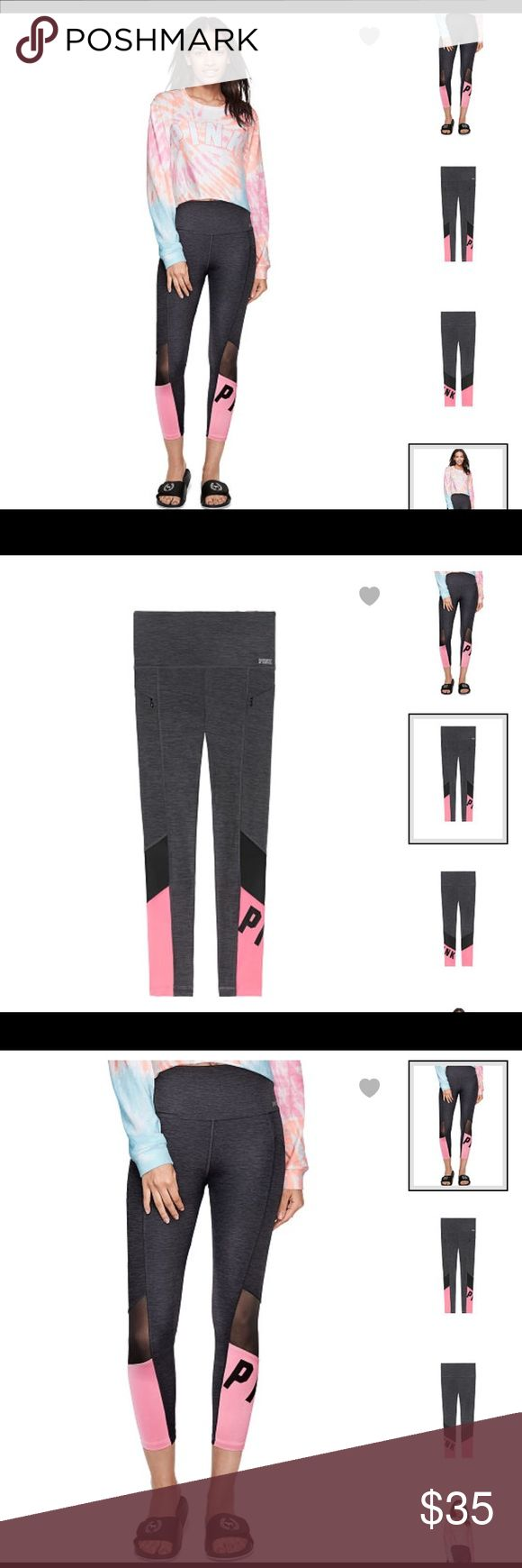 """PINK ULTIMATE HIGH-WAIST ANKLE LEGGING Product Details Super smooth and fit to flatter, this Ultimate Legging features a high waist, shine graphics and hits just at the ankle. Made to move, this style features quick-dry 4-way stretch fabric that wicks away sweat and is breathable during workouts.     High waist Premium quick-dry 4-way stretch fabric Breathable & sweat-wicking Ankle length 24"""" inseam Imported nylon/spandex PINK Pants Leggings"""
