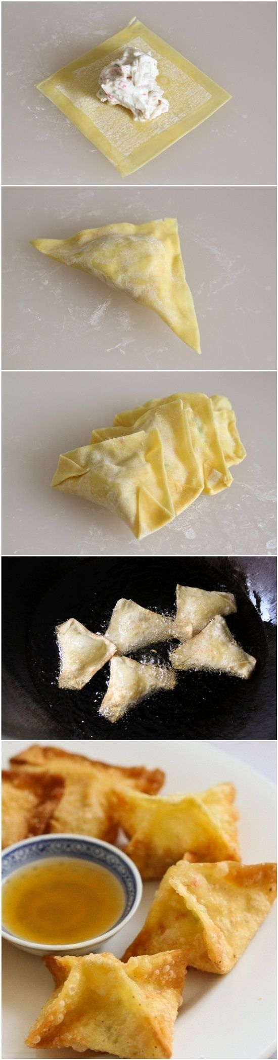 Crab Rangoon (Cheese Wonton)     1 pkg. wonton wrapper, water.     For Cheese Filling:     ½ lb imitation crab sticks or lump crab meat,     8 oz. cream cheese, softened in room temperature,     3 stalk scallions, finely chopped,     1 tsp Worchester sauce,     1 tsp soy sauce or ½ tsp salt,     1 tsp. sugar.
