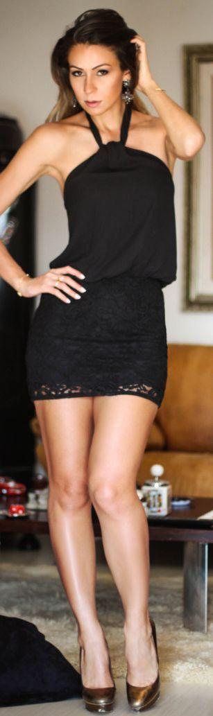Black Lacey Hem Fit And Flare Halter Mini Dress by Decor e Salto Alto