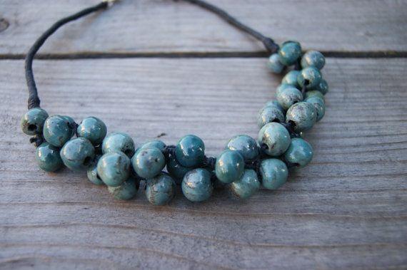 Turquoise ceramic necklace, Handmade Ceramic, Turquoise beads, Ceramic necklace, necklace for evening dress, ceramic jewelry, linen necklace by GlinianaKoniczynka