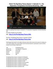 CBS  The Big Bang Theory S11,E14 'The Separation Triangulation' Online