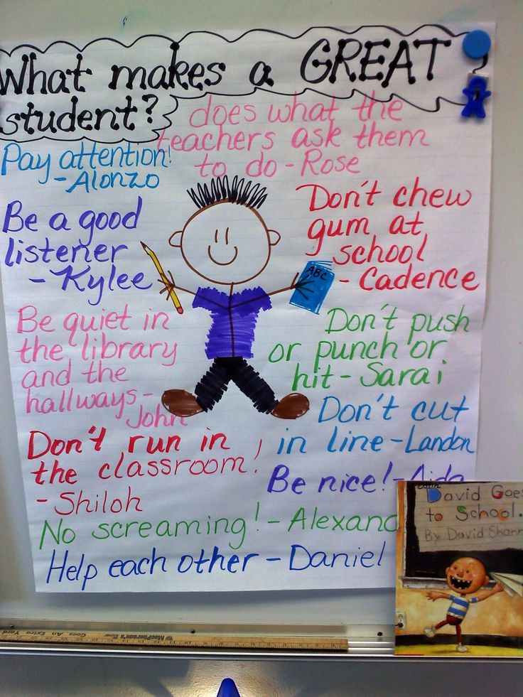 Another first week of school activity with the first graders...we read David Goes to School and then we worked together to create this chart.