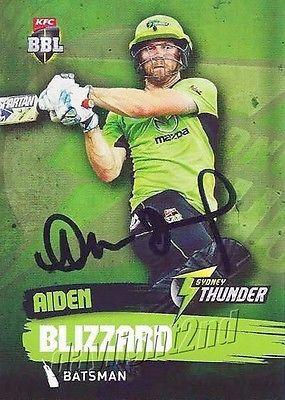✺Signed✺ 2015 2016 SYDNEY THUNDER Cricket Card AIDEN BLIZZARD Big Bash League