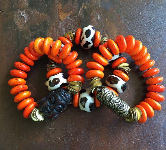 Kenya Bone Tribal Triple Stretch Bracelet by JewelrybyKellyWalker