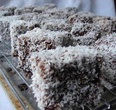 Mini Lamingtons, sponge cake, chocolate and coconut - the great Aussie treat.