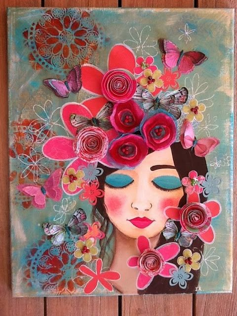 Full view - 3d textural mixed media on canvas - My Island Girl -SOLD