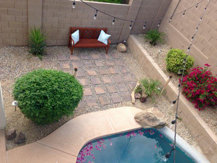 Backyard sitting area in a desert landscape