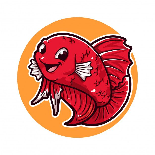 Betta Fish Cartoon Logo In 2020 Betta Fish Fish Logo Fish Illustration