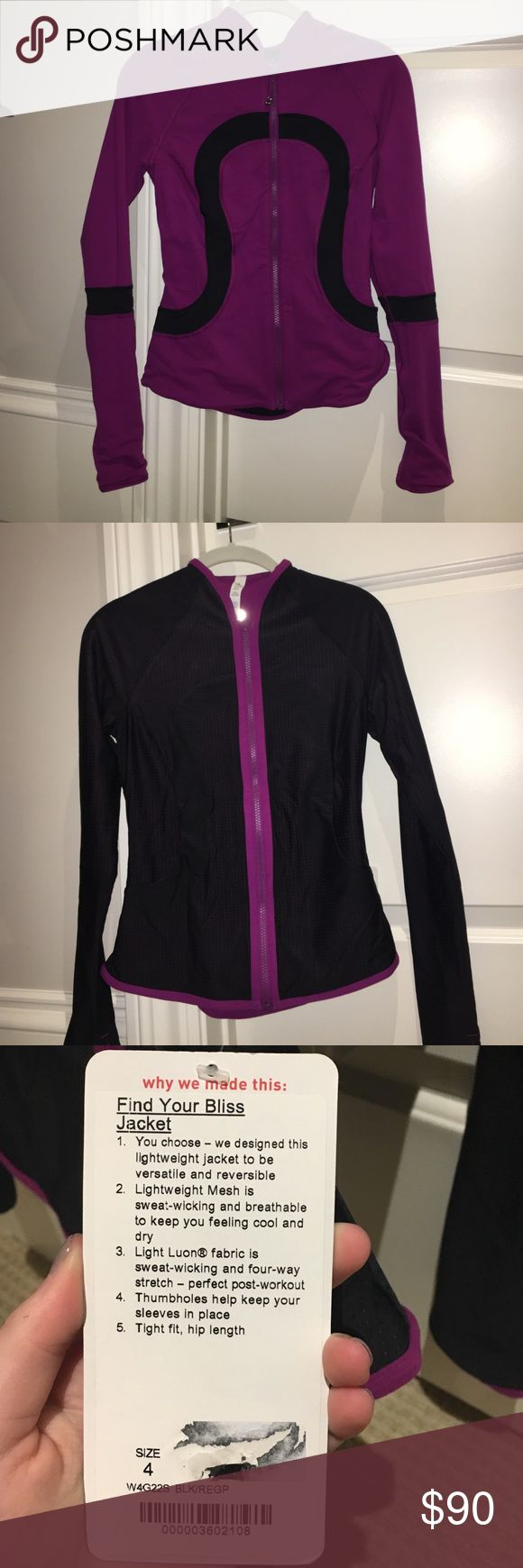 Lululemon reversible jacket This jacket is sold out online so get it here for cheaper!! The good thing about it is that its reversible so if you dont like one side you can use the other side!! Its never been worn and still has the tags lululemon athletica Jackets & Coats