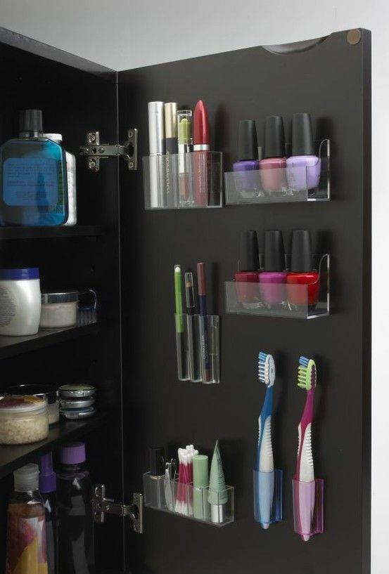 5 Fantastic Bathroom Organization ideas by Glamour: 1. Ikea spice racks for hair products 2. sticky organizers on inside of med cabinet for makeup 3. magazine holder on inside of sink door to hold hairdryer 4. magnetic board to stick your magnetized beauty products up to 5. office supplies holder to tidy up small toiletries - Click image to find more DIY & Crafts Pinterest pins