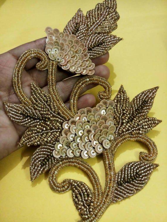 quilt,denim shirt applique-Price for 1 patch NFA204 Indian handmade floral kardana pearl sequinwork zari work jacket applique wedding dress