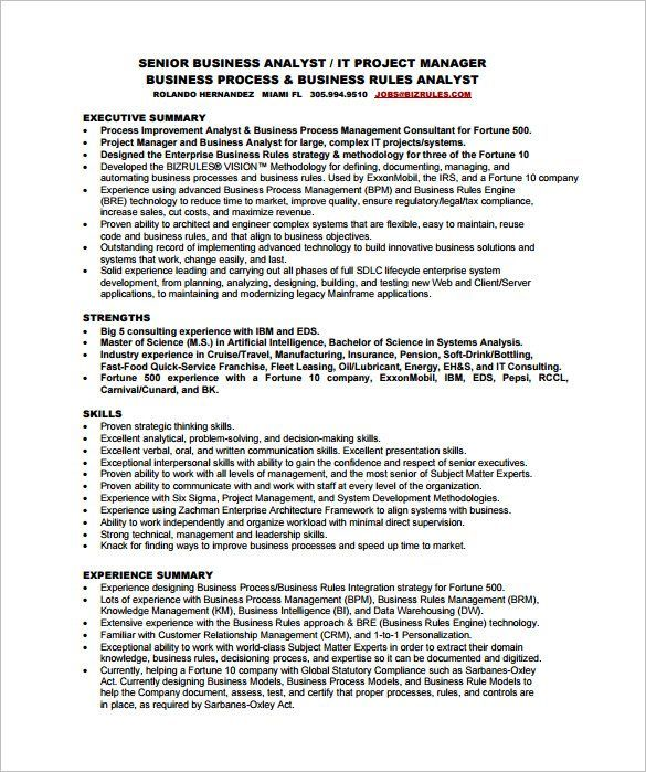 pdf free for business analyst resume sample best template examples amp premium templates
