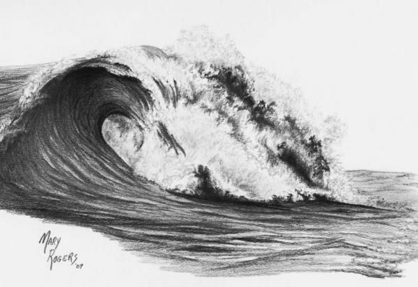 how to draw waves with colored pencil