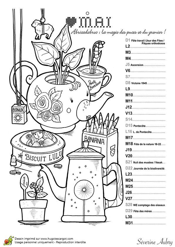 Le mois de mai est la saisons des vide-greniers, coloriage de calendrier
