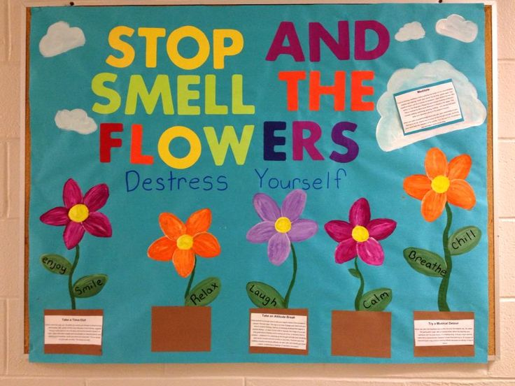 My stress relieving board I made for springtime/finals. resident advisor / resident assistant / RA bulletin board