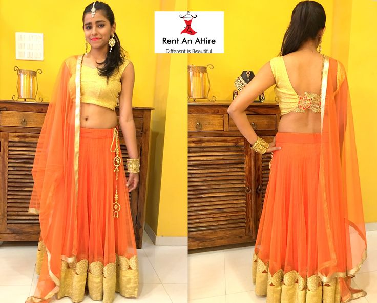 Have a look at this extremely beautiful & stylish lehenga choli.. Aren't you fascinated by its simple yet appealing look? Lehenga collection for your wedding festivities, only at Rent An Attire!! Try it ♡ Book it ♡ Flaunt it