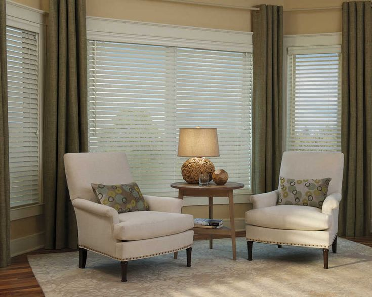 EverwoodR Wood Blinds With Draperies In The Living Room Cord Lock System