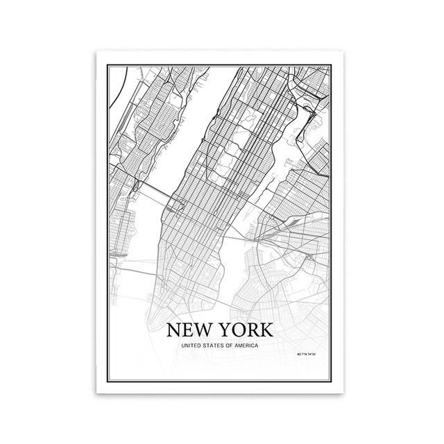 900D Nordic Style Canvas Art Print Painting Poster, New York City Map Wall Pictures for Home Decoration, Wall Decor NOR39