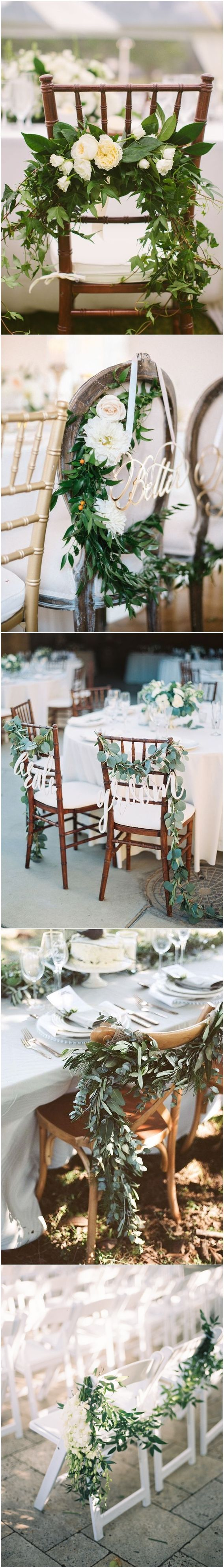 Greenery wedding chair decor ideas / http://www.deerpearlflowers.com/greenery-wedding-decor-ideas/
