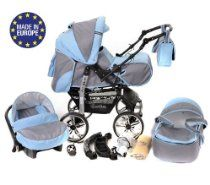 3-in-1 Travel System with Baby Pram, Car Seat, Pushchair & Accessories, Pale Grey & Blue