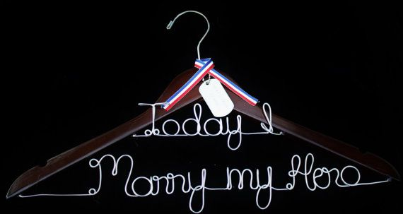 Today I Marry My Hero Bridal Wedding Dress Hanger Military dogtag Marine Corps Sailor Police Firefighter Army Soldier Cop on Etsy, $21.88