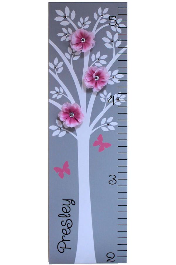 Personalized Growth Chart Children Baby Personalized  Canvas Growth Chart Modern Pink Grey Nursery Tree Flower by onehipstickerchic on Etsy https://www.etsy.com/listing/114420654/personalized-growth-chart-children-baby