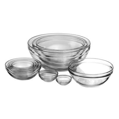 Features:  -Anchor collection.  -Set includes 10 nesting mixing bowls.  -Made of thick tempered glass for increased durability.  -Oversized capacities help prevent spillovers.  -Nests together to save