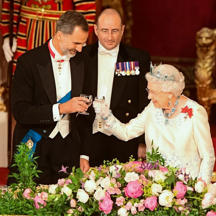 "Her Majesty sat beside King Felipe at the formal dinner. ""The relationship between our two nations is dynamic and modern,"" the Queen said in her speech."